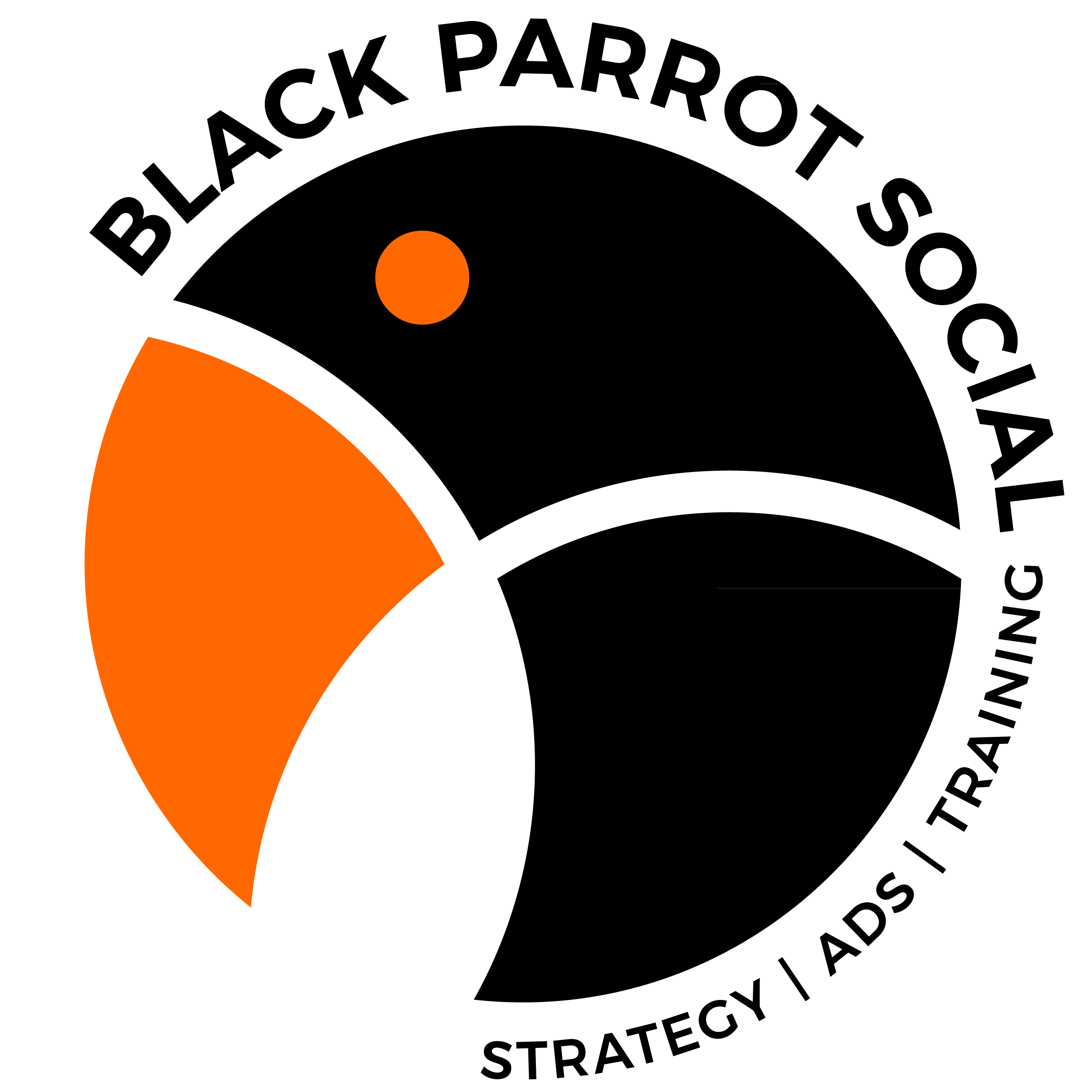 Black and orange logo of parrot